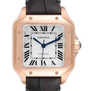 Cartier Santos Midsize Rose Gold Grey Strap Mens Watch WGSA0012 Box Card