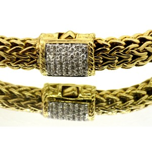 "John Hardy Classic Chain Bracelet Diamond 18k Solid Gold Large 8"" 7.5mm"
