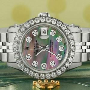Rolex Datejust Steel 26mm Jubilee Watch Tahitian MOP 1.3CT Diamond Bezel & Dial