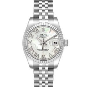Rolex Datejust Steel White Gold Mother of Pearl Ladies Watch