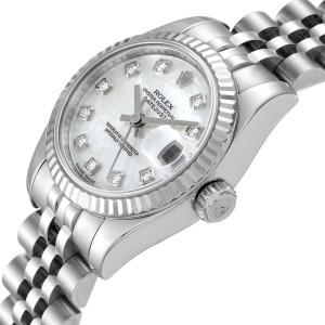 Rolex Datejust Steel White Gold MOP Diamond Ladies Watch 179174