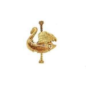 Igor Carl Faberge  Swan Carousel Pin Brooch 1979 14k Yellow GoldSapphire Enamel