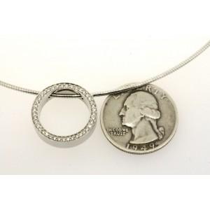 Movado Diamond Circle Pendant Necklace 18k White Gold Snake Chain