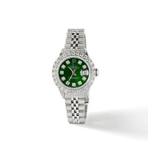 Rolex Datejust Steel 26mm Jubilee Watch 2CT Diamond Bezel / Royal Green MOP Dial