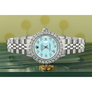 Rolex Datejust Steel 26mm Jubilee Watch 2CT Diamond Bezel / Aqua Blue Dial