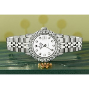 Rolex Datejust Steel 26mm Jubilee Watch 2CT Diamond Bezel/ Stone White Dial