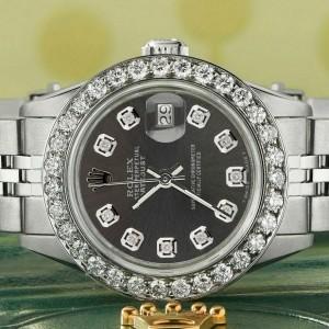 Rolex Datejust Steel 26mm Jubilee Watch Rhodium Grey 1.3CT Diamond Bezel & Dial