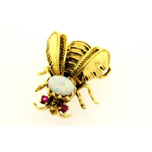 Bee Pin Opal Ruby Vintage 14k Yellow Gold Brooch 3D Amazing Detail RARE