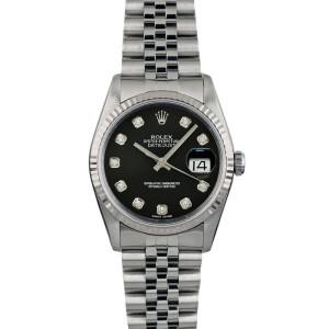 Rolex Datejust 36mm 16014 Unisex Black Diamond White Gold 36mm 1 Year Warranty