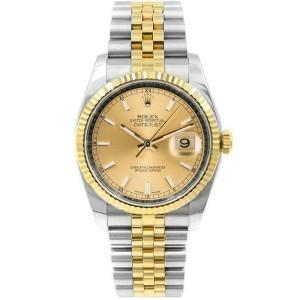 Rolex Datejust 116233 Unisex Champagne Index Yellow Gold 36mm 1 Year Warranty