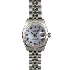 Rolex Datejust 179174 Women's White MOP Roman White Gold 26mm 1 Year Warranty