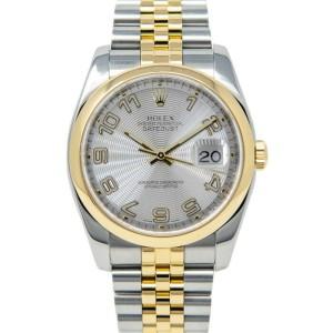 Rolex Datejust 116203 Unisex Silver Arabic Yellow Gold 36mm 1 Year Warranty