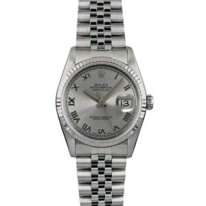 Rolex Datejust 36mm 16014 Unisex Silver Roman White Gold 36mm 1 Year Warranty