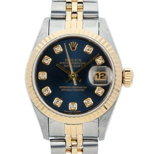 Rolex Datejust 26mm 6917 Women's Blue Diamond Yellow Gold 26mm 1 Year Warranty
