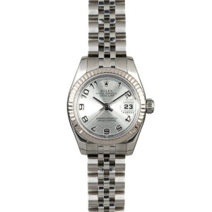 Rolex Datejust 179174 Women's Silver Arabic White Gold 26mm 1 Year Warranty