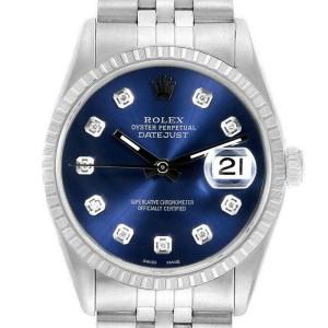 Rolex Datejust 36mm 16220 Unisex Blue Diamond Steel 36mm 1 Year Warranty