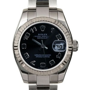 Rolex Datejust 179174 Women's Black Concentric Arabic White Gold 26mm 1YearWty