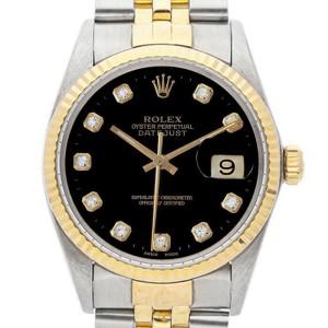 Rolex Datejust 36mm 16013 Unisex Black Diamond Yellow Gold 36mm 1 Year Warranty