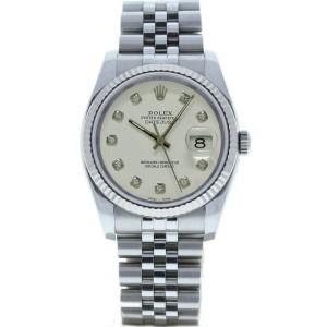 Rolex Datejust 36mm 116234 Unisex White Diamond White Gold 36mm 1 Year Warranty