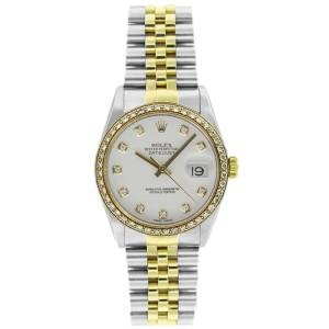 Rolex Datejust 36mm 16233 Unisex White Diamond Yellow Gold 36mm 1 Year Warranty