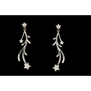 Diamond Dangle Drop Earrings Star 18k White Gold Pave .20ct Delicate Dress 1.5""