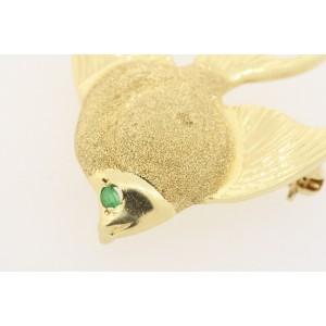 "Goldfish Fish Pin Brooch 14k Yellow Gold Emerald Eye 1 3/8"" Sparkle Texture 4.8g"