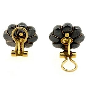 Tiffany & Co. Earrings Hematite 18k Flower French Vintage Rare Omega Back