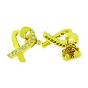 TIFFANY & CO Paloma Picasso loving heart diamond earrings in 18k yellow gold