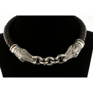 1993 Barry Kieselstein Cord 2 Alligator Choker Collar Necklace Sterling Leather