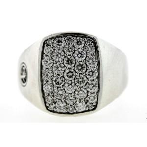 David Yurman Pave Diamond Pinky Ring Sterling Silver 1.15ct $2700 Mens sz 8.25