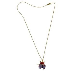 Roberto Coin large diamond 18k rose gold lilac enamel Ladybug necklace