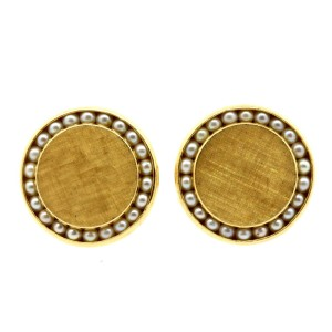 """Lucian Piccard 14k Gold Pearl Cufflinks 3/4"""" Button Style 14.4g Vintage"""