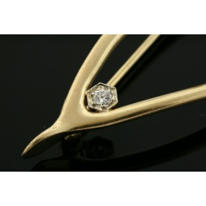 Vintage Wishbone Diamond Pin Brooch 14k Yellow Gold Circa 1940's