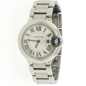 Cartier Ballon Bleu Small Factory Silver Roman Dial 28MM Steel Ladies W69010Z4