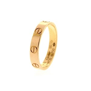 Cartier Mini Love Band Ring 18k Rose Gold 55 US 7.5 3.6mm wide $1070