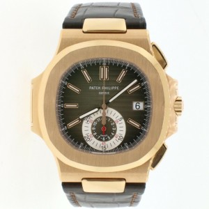 Patek Philippe Nautilus Chronograph Rose Gold Watch 5980R Box Papers