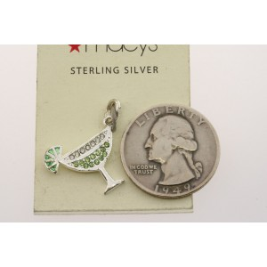 Vintage Sterling Silver Charm Green Stone Martini Drink in Cup with Lime Macy's