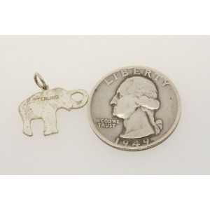 Vintage Sterling Silver Charm Elephant 2D Flat