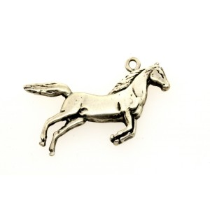 Vintage Sterling Silver Charm Large Flat Jumping Horse