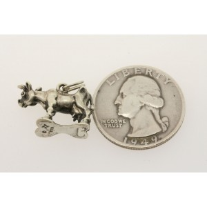 Vintage Sterling Silver Charm 3D Cow Standing Large Utters Dairy Farm Animal