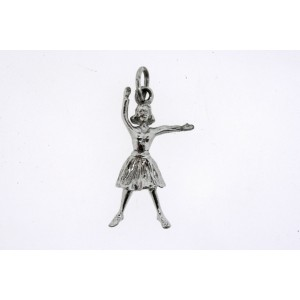 Vintage Sterling Silver Charm Girl Cheerleader Dancer in Dress Arms Up Lady