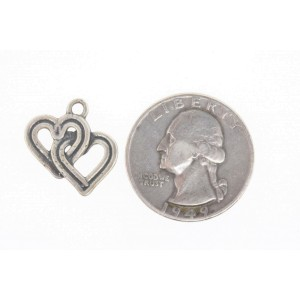 Vintage Sterling Silver Charm 2 Double Interlocking Heart hearts