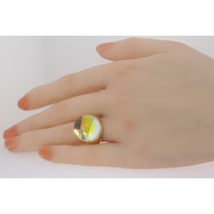 Baccarat Crystal Ball Ring 18k Solid Yellow Gold size 5.75 Rare