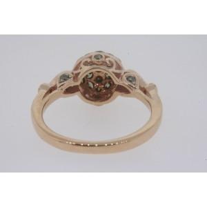 Levian 14k Rose Strawberry Gold Pave Cluster Chocolate 1/2ct Diamond Ring sz 5