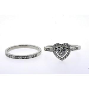 Angara Diamond Engagement Ring Wedding Band Set Platinum Heart Halo 1/2ct GH VS