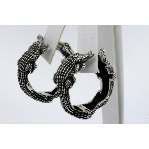 Kieselstein Cord Alligator Large Hoop Earrings Sterling Silver 925