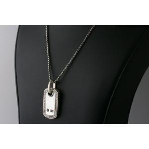 "David Yurman Dog Tag Diamond Necklace Pendant Mother Pearl 18"""