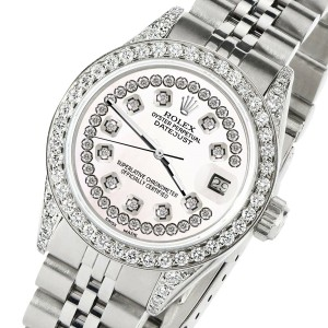 Rolex Datejust 26mm Steel Jubilee Diamond Watch with White Pearl Dial