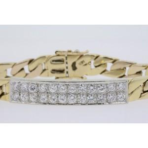 "14k Gold 2ct G VS Pave Diamond ID Bar Bracelet Curb Link Chain 7"" 27.2g Heavy"