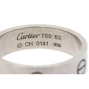 Mens Cartier Love Ring Band 18k White Gold size 63 US 10.5 Wedding Vintage 6mm